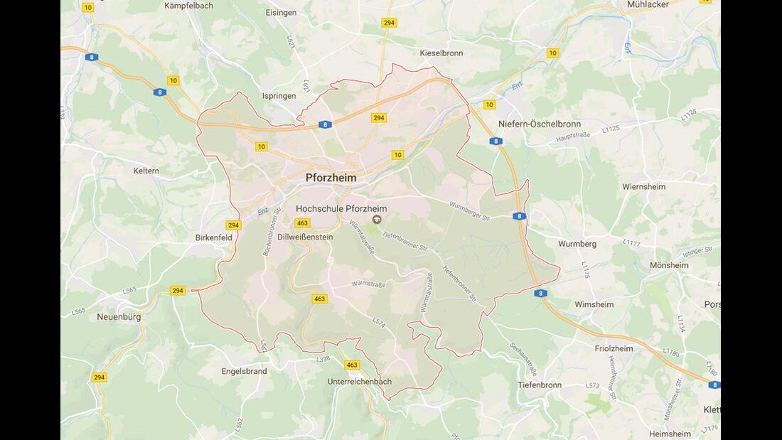 Karte Pforzheim