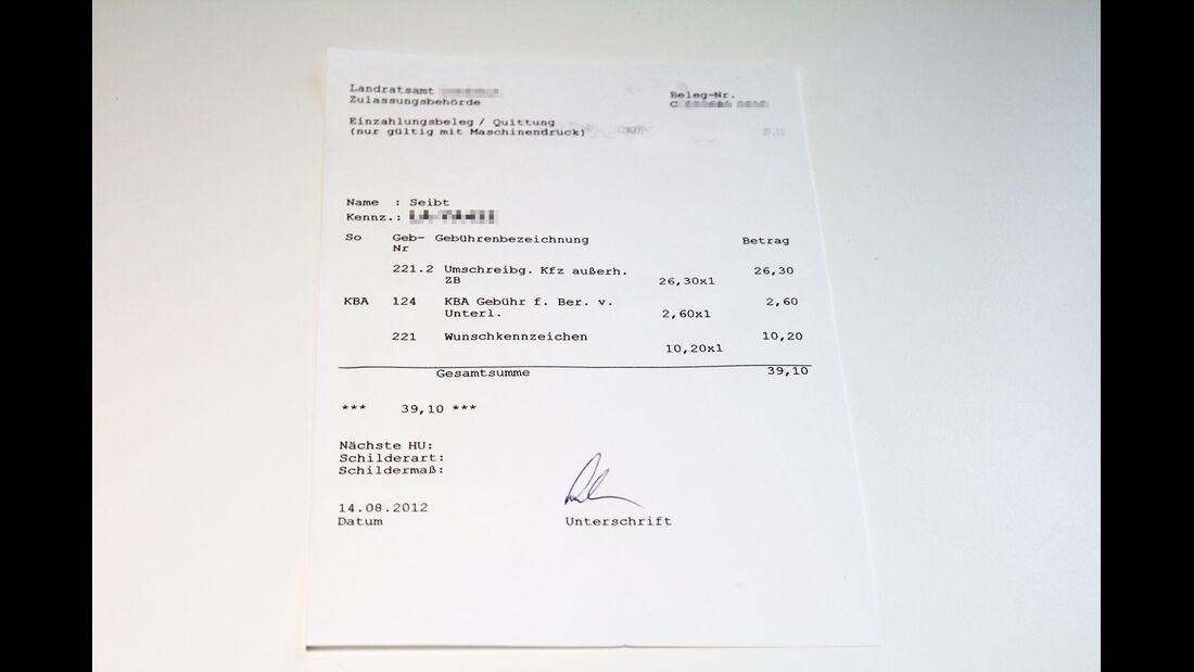 Kfz-Zulassung, Zulassungsstelle, Gebühren, Umschreibung