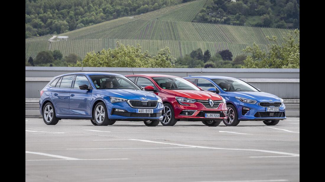 Kia Ceed 1.4 T-GDI, Renault Mégane TCe 140, Skoda Scala 1.5 TSI ACT, Exterieur
