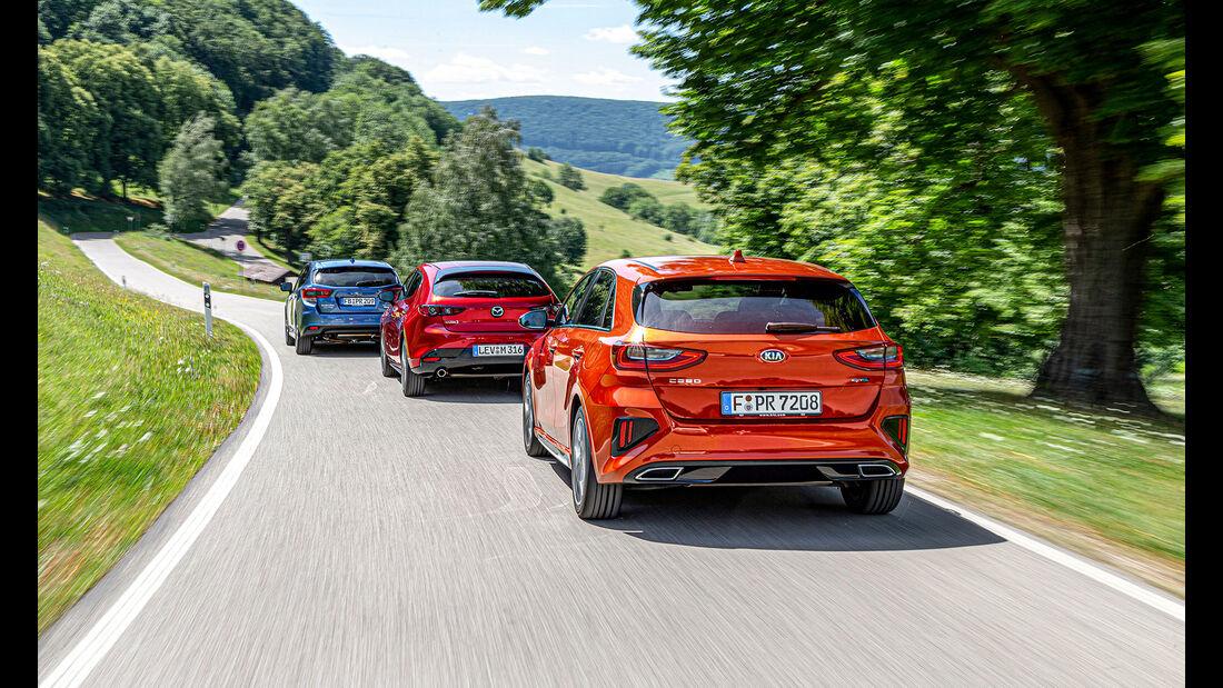 Kia Ceed, Mazda 3, Subaru Impreza, Vergleichstest, ams 2520