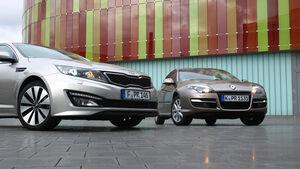 Kia Optima 1.7 CRDi Spirit, Renault Laguna Energy dCi 150, Front