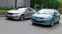 Kia Optima, Hyundai i40, Frontansicht