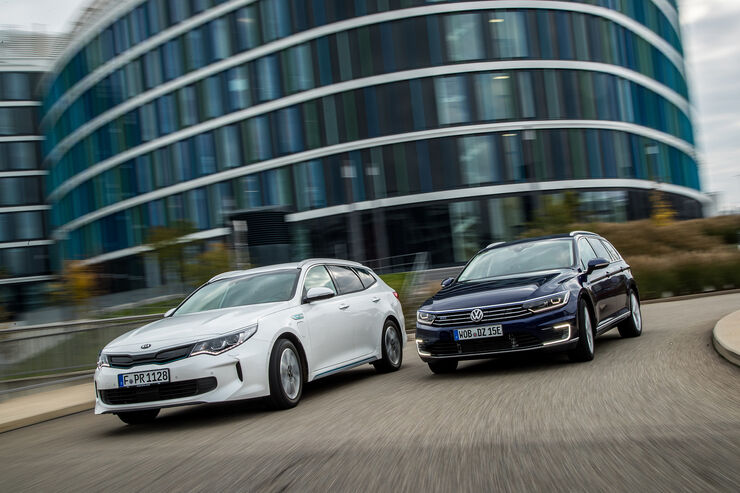 kia optima und vw passat kombis mit plug in hybrid im test auto motor und sport. Black Bedroom Furniture Sets. Home Design Ideas