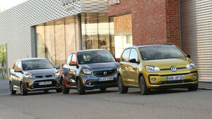 Kia Picanto 1.2, Smart Forfour 0.9, VW Up 1.0 TSI, Frontansicht