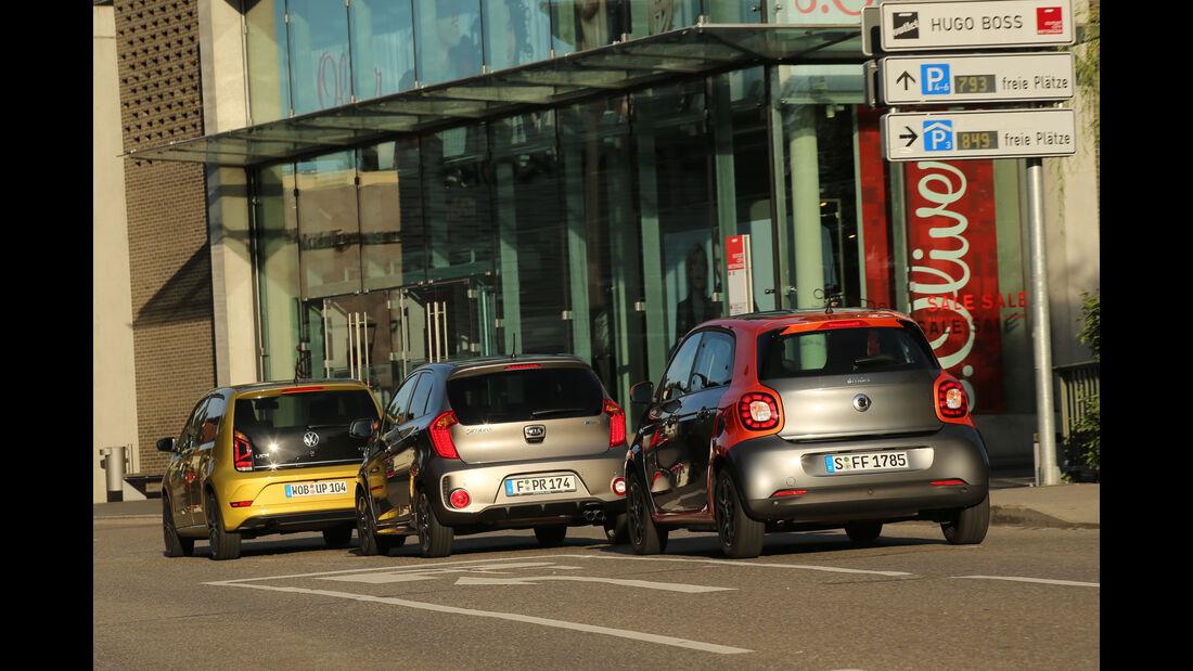 Kia Picanto 1.2, Smart Forfour 0.9, VW Up 1.0 TSI, Heckansicht