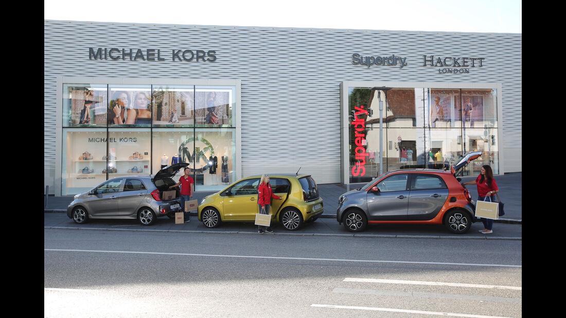 Kia Picanto 1.2, Smart Forfour 0.9, VW Up 1.0 TSI, Seitenansicht