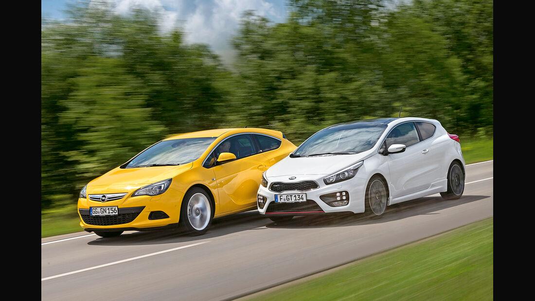 Kia Pro Cee'd GT Track, Opel Astra GTC 1.6 Turbo, Seitenansicht