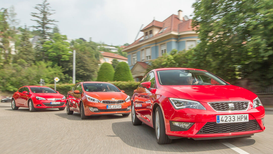 Kia Procee'd, Opel Astra GTC, Seat Leon SC, Frontansicht