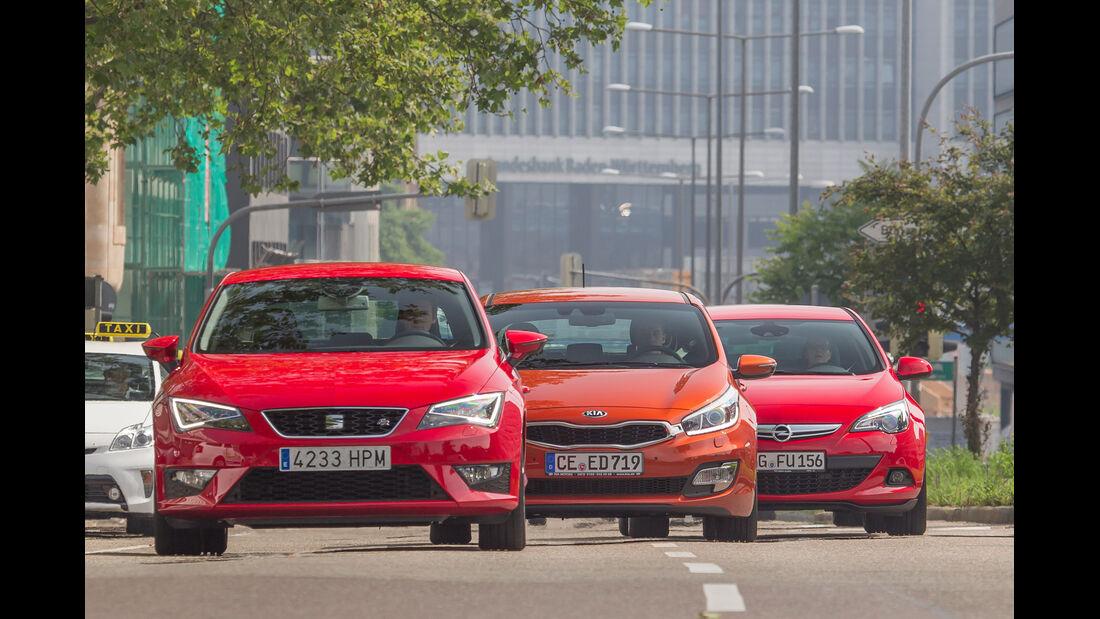 Kia Procee'd, Opel Astra GTC, Seat Leon SC, Frontansicht