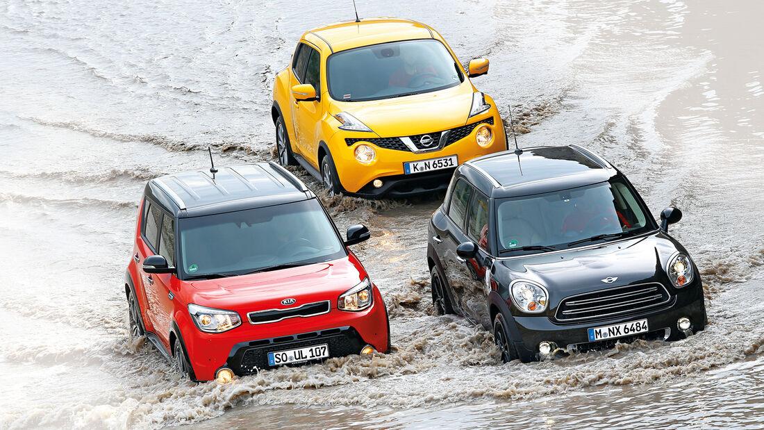 Kia Soul, Mini Cooper Countryman, Nissan Juke, Frontansicht