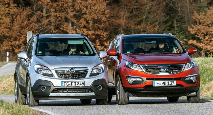 Kia Sportage 1.7 CRDi, Opel Mokka 1.7 CDTi, Frontansicht