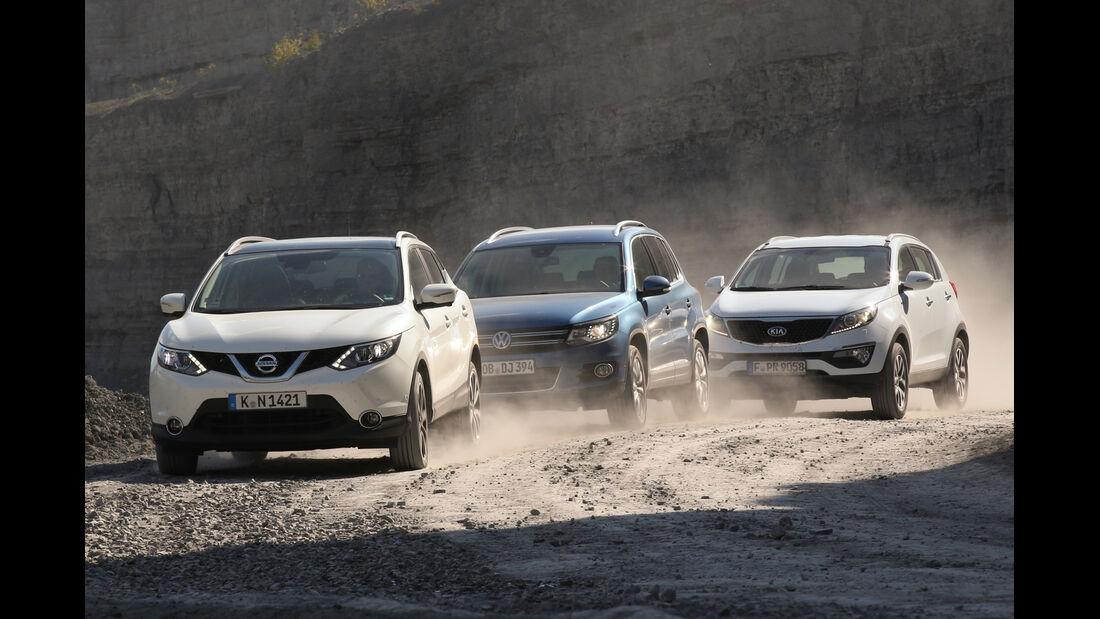 Kia Sportage, Nissan Qashqai, VW Tiguan, Frontansicht
