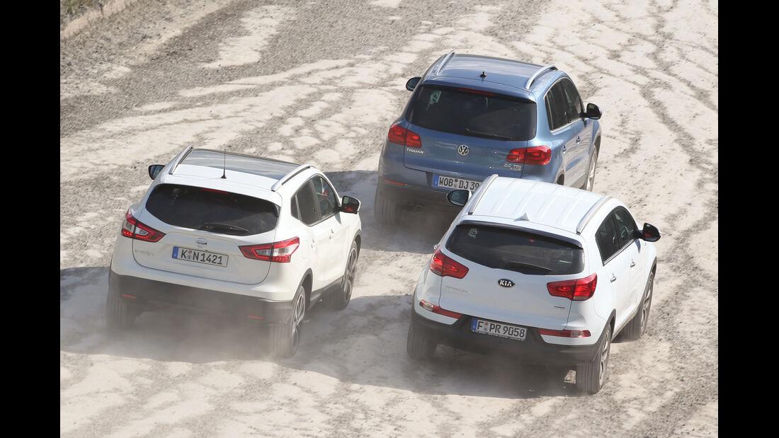 Kia Sportage, Nissan Qashqai, VW Tiguan, Heckansicht