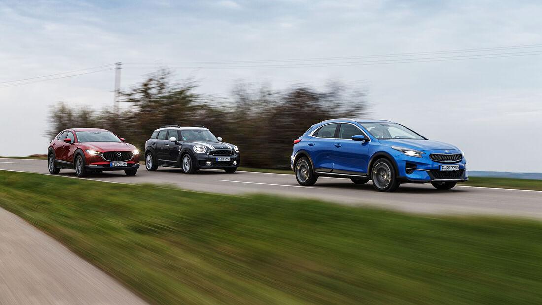 Kia Xceed 1.6 T-GDI Spirit, Mazda CX-30 Skyactiv-X 2.0 Selection, Mini Cooper S Countryman, Exterieur