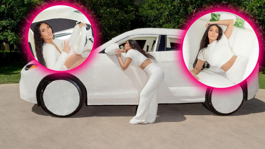 Kim Kardashian Lamborghini Urus Fell Bezug weiß