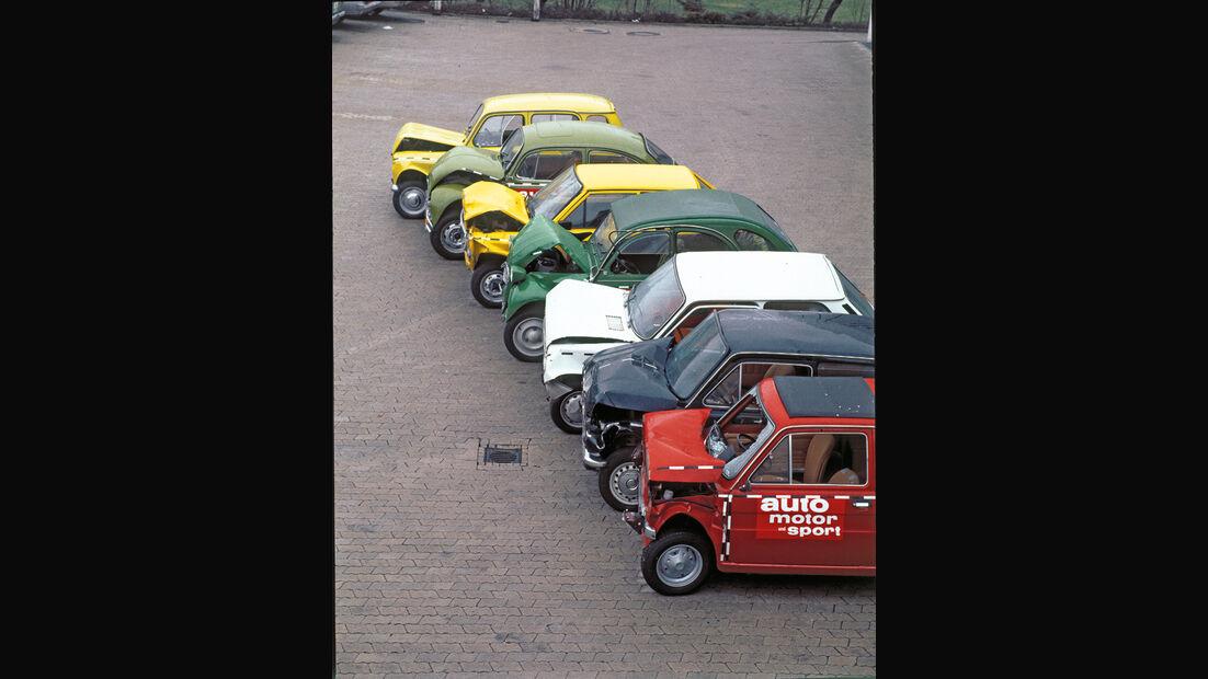 Kleinwagen, verscheidene Fahrzeuge, Crashtest
