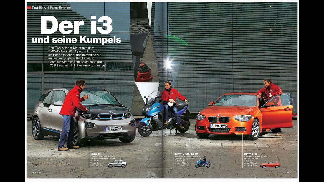 Kopie von: AMS Heft 2 2014 Vergleich BMW i3 Range Extender