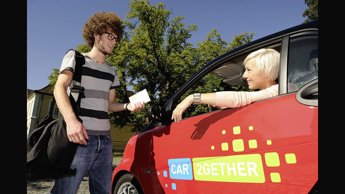 Kopie von: car2gether, Mitfahrgelegenheit, Daimler, Smart