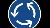 Kreisverkehr, Verkehrszeichen