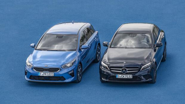 LED-Scheinwerfer: Mercedes C-Klasse gegen Kia Ceed