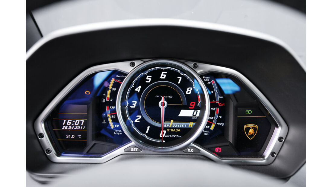 Lamborghini Aventador, Detail, Drehzahlmesser, Zentral-Instrument