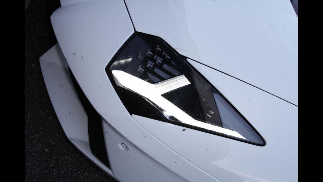 Lamborghini Aventador, Detail, Frontscheinwerfer