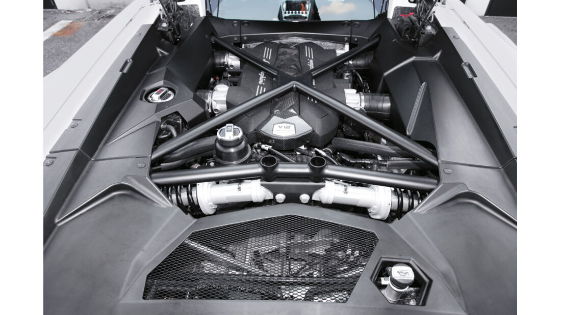 Lamborghini Aventador, Motorraum, V-12, Motor