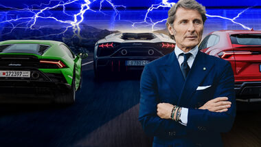 Lamborghini Chef CEO Stephan WInkelmann Huracan Aventador Urus Elektro Hybrid Collage