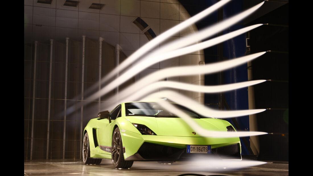 Lamborghini Gallardo LP 570-4 Superleggera, Windkanal, Frontansicht