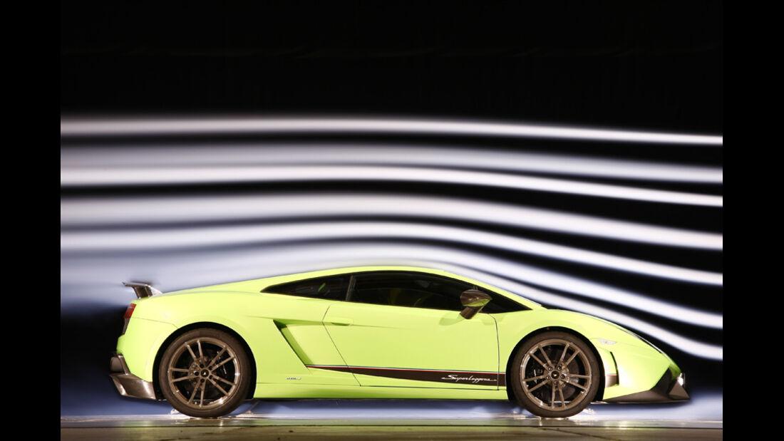 Lamborghini Gallardo LP 570-4 Superleggera, Windkanal, Seitenansicht