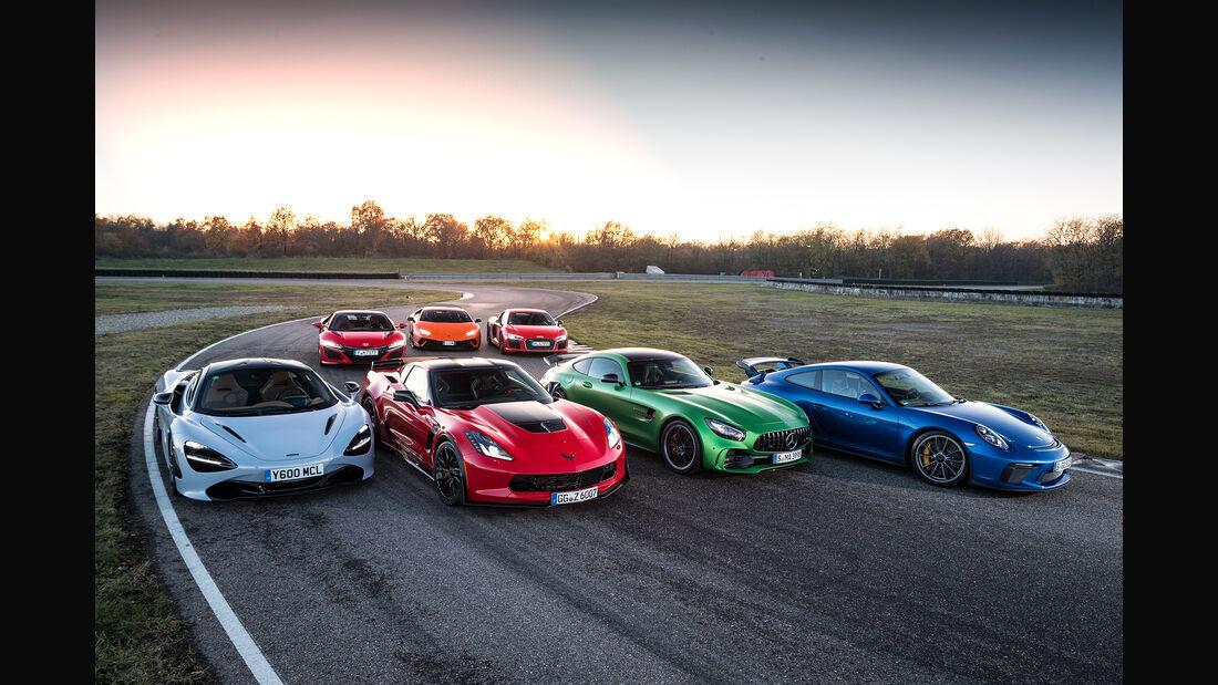 Lamborghini Huracán Performante, Chevrolet Corvette Z06, Mercedes-AMG GT R, McLaren 720S, Porsche 911 GT3, Audi R8 V10 Plus, Honda NSX, Exterieur