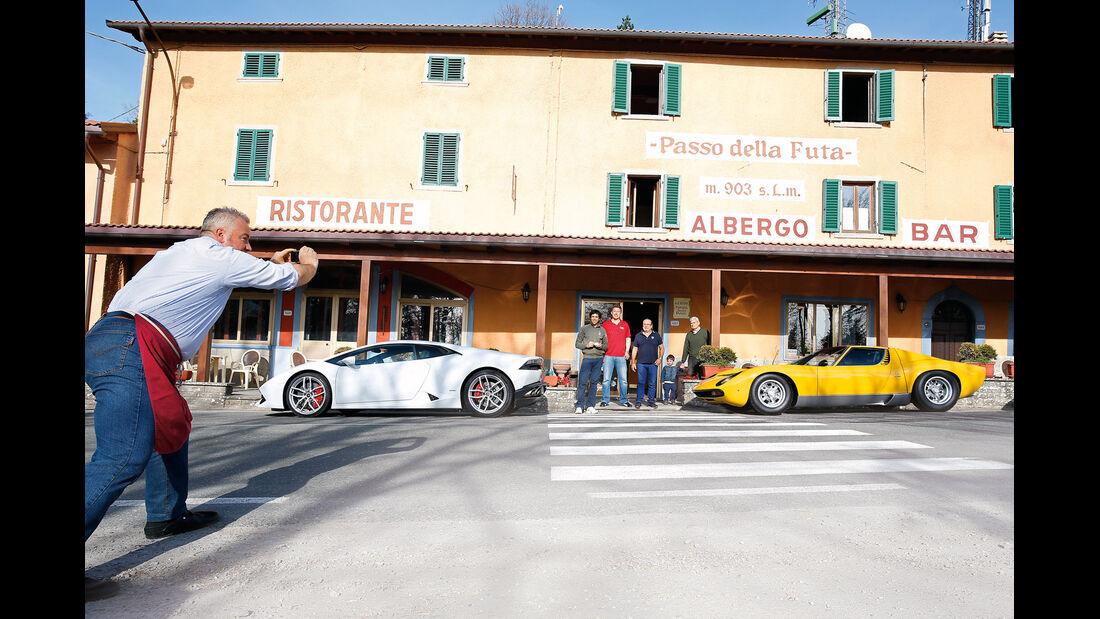 Lamborghini Miura P 400 SV, Lamborghini Huracán, Seitenansicht