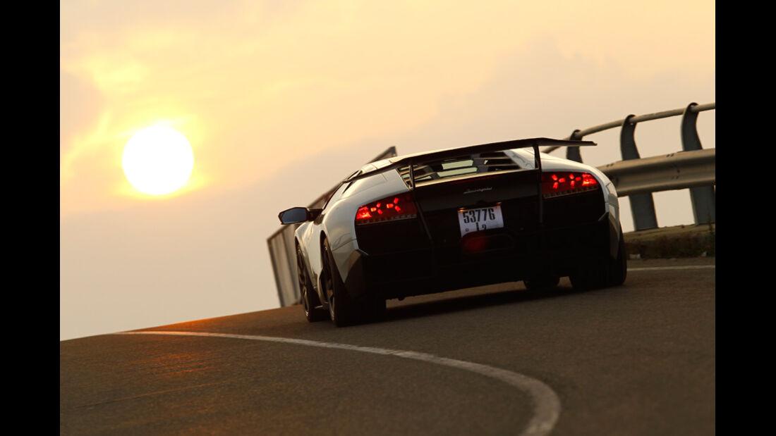 Lamborghini Murcielago SV, Heck, Abendstimmung, Überlandfahrt, Kurve