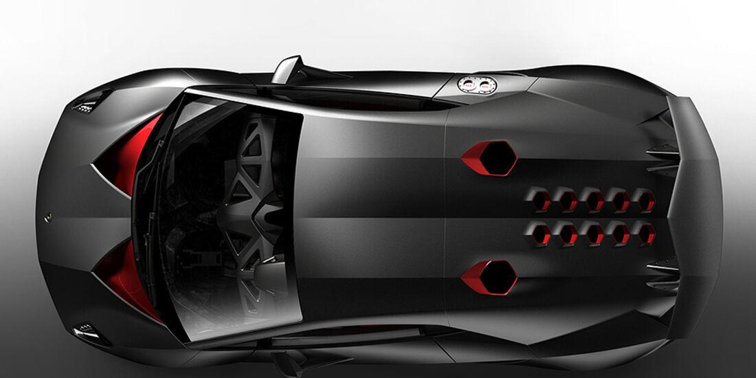 Lamborghini Sesto Elemento, Draufsicht, Motorabdeckung