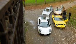 Lamborghini V12, alle Fahrzeuge, Frontansicht, Park, von oben