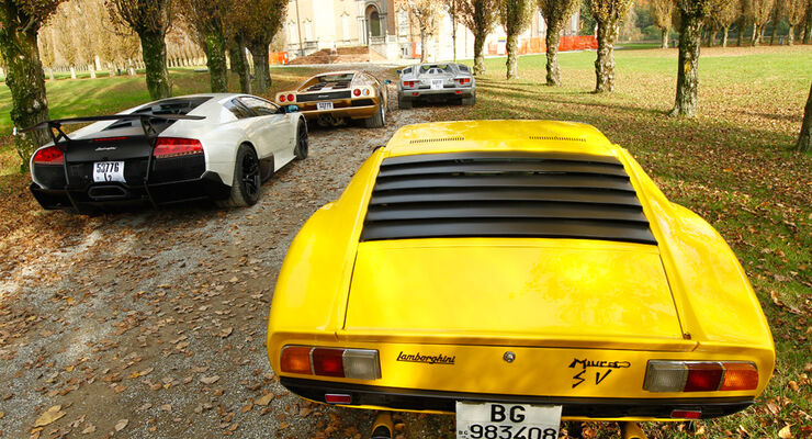 Lamborghini V12, alle Fahrzeuge, Rückansicht, Lamborghini Miurca