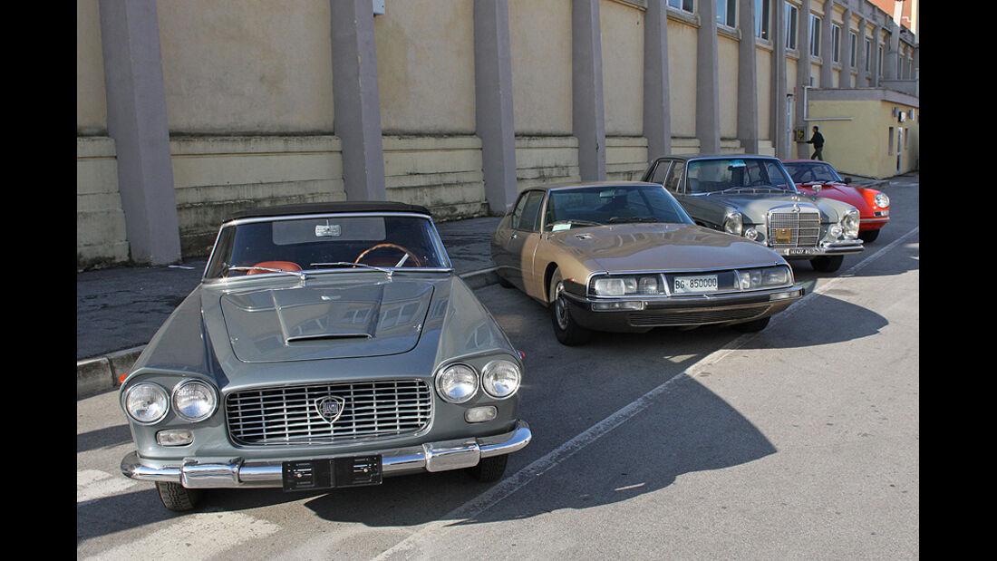 Lancia Flaminia Cabriolet, Citroen SM, Mercedes-Benz S-Klasse und Porsche 911
