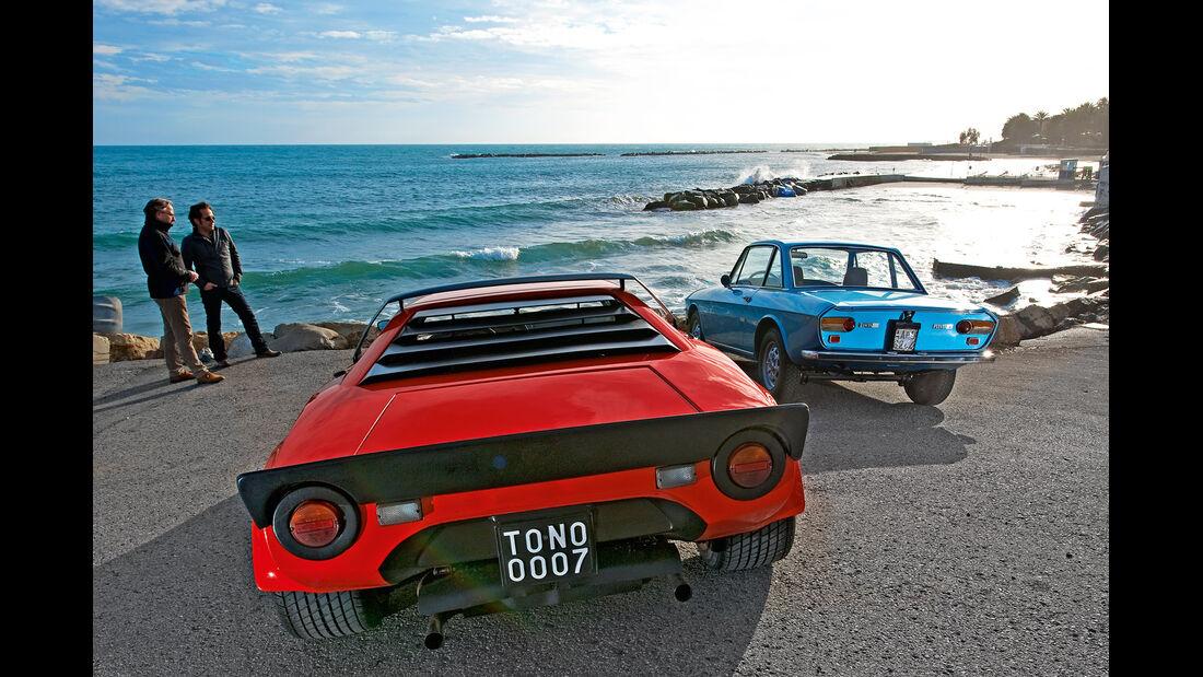 Lancia Stratos HF, Lancia Fulvia 1.3, Heckansicht, Strand