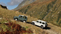 Land Rover Defender 90 TD4, Mercedes-Benz G 280 CDI Edition Pur in den Alpen unterwegs