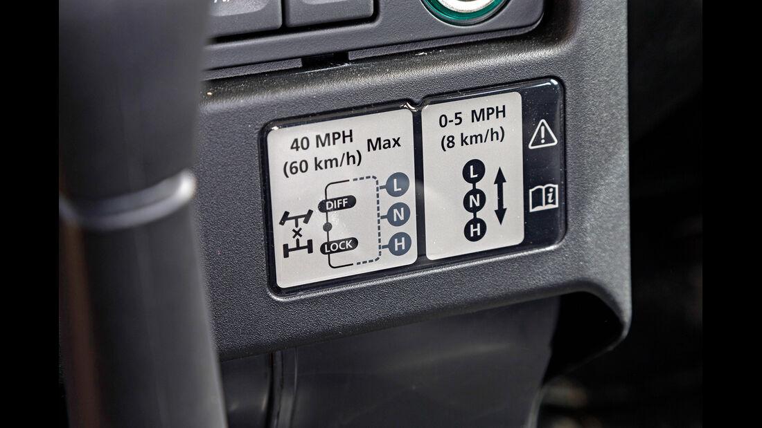 Land Rover Defender 90 TD4 SW, Sperre, Bedienelemente