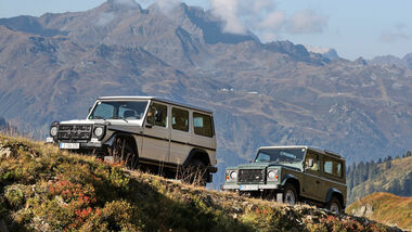 Land Rover Defender 90 TD4 und Mercedes-Benz G 280 CDI Edition Pur in den Alpen unterwegs