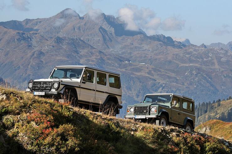 Land Rover Defender 90 TD4 und Mercedes-Benz G 280 CDI Edition Pur in den Alpen unterwegs