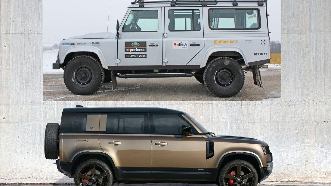 Land Rover Defender Generationen-Vergleich alt gegen neu