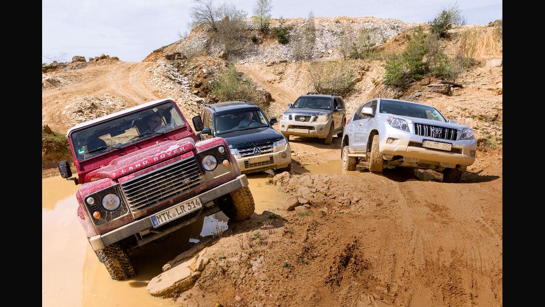 Land Rover Defender, Mitsubishi Pajero, Nissan Pathfinder, Toyota Landcruiser