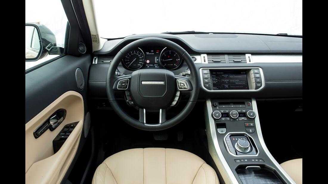 Land Rover Evoque 2,2 SD4, Cockpit, Lenkrad