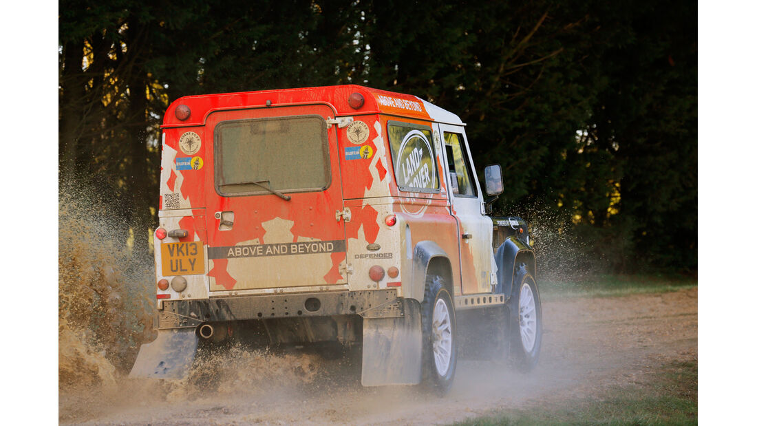 Land Rover Rallye-Defender, Heckansicht