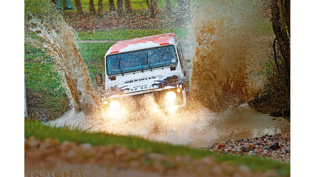 Land Rover Rallye-Defender, Wasserdurchfahrt
