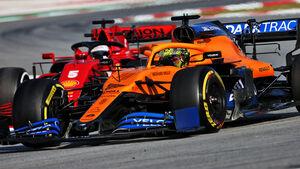 Lando Norris - McLaren - Sebastian Vettel - Ferrari - Formel 1 - Testfahrten - Barcelona 2020