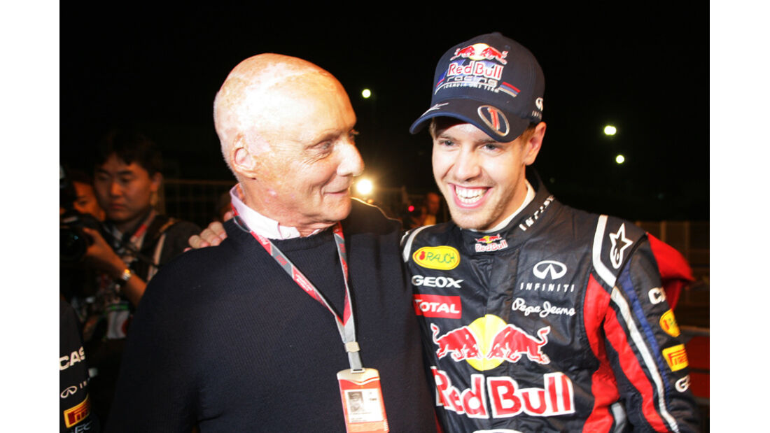 Lauda Vettel WM-Feier GP Japan 2011