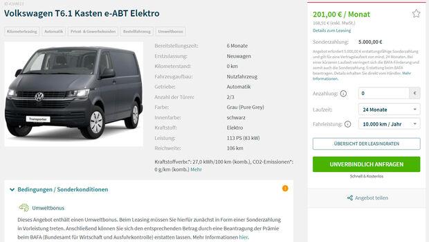 Leasingangebote Elektroautos
